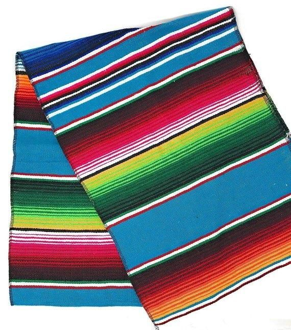 Mexican Sarape - Turquoise - Table Runner 14   Turquoise ...