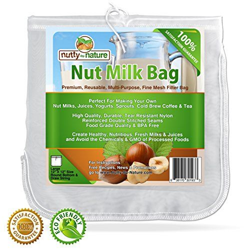 Nuttybynature All Purpose Food Strainer Bag For Nut Milks Cold Brew Coffee Tea Fresh Juice Cheese