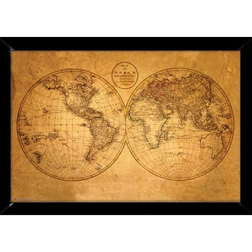 Old world map print 24 inch x 36 inch with contemporary poster old world map print 24 inch x 36 inch with contemporary poster frame gumiabroncs Choice Image