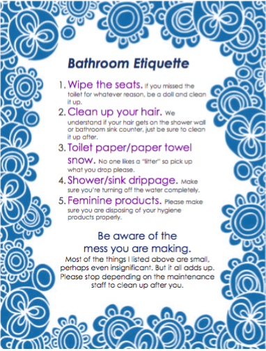 Bathroom Etiquette Flyer Because Sometimes Residents Need A Little
