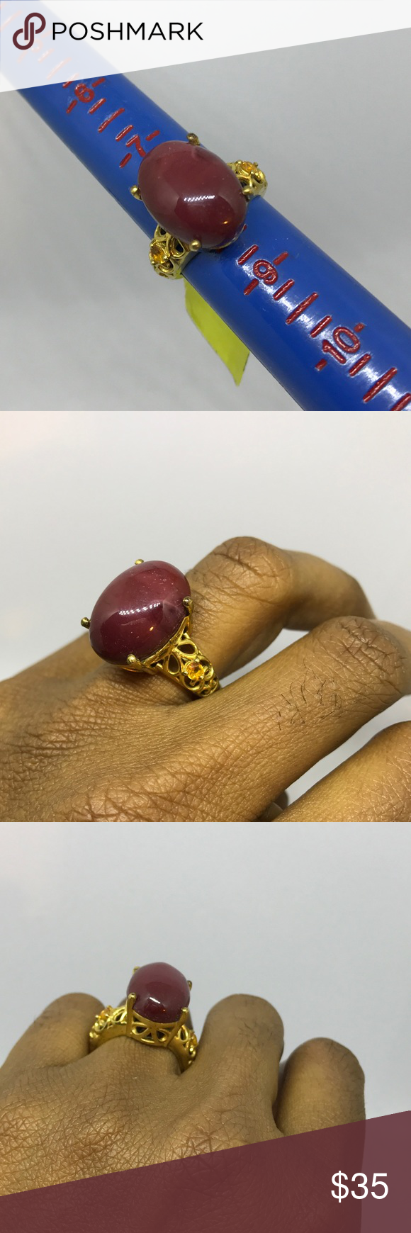 18k Yellow Gold Filled Gemstone Ring Woman Jewelry Size 8.    Natural gemstones Jewelry Rings