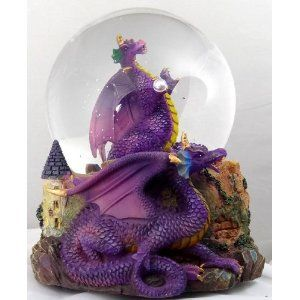 Purple Dragon Holding Crystal with Castle Snow Globe - Sculptured Resin Water…