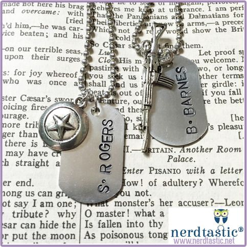 """---------- Qualifies for Free US Domestic 1st Class Shipping ---------- This dog tag necklace is hand stamped with """"S. ROGERS"""" or """"B. BARNES"""" along with an identifying charm. This design can be purchased in single tags or pairs if you and your BFF share a love of Captain America & Winter ..."""