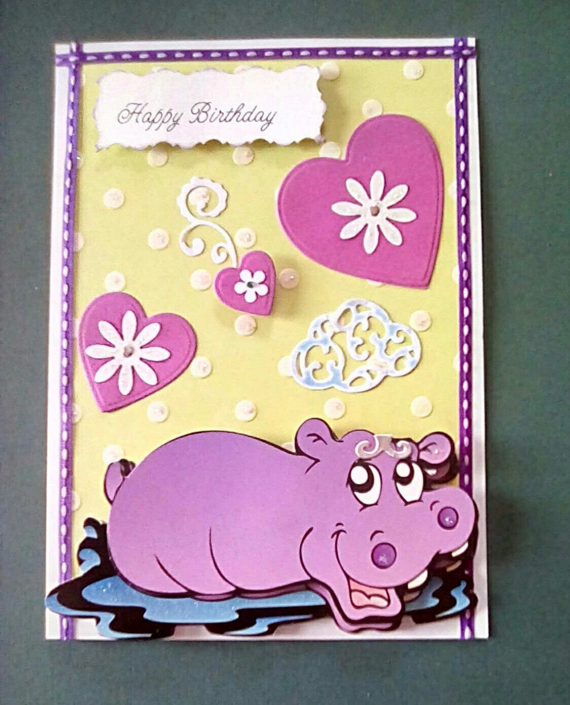 Birthday card made with wall decorations hippo | Debbie\'s creations ...