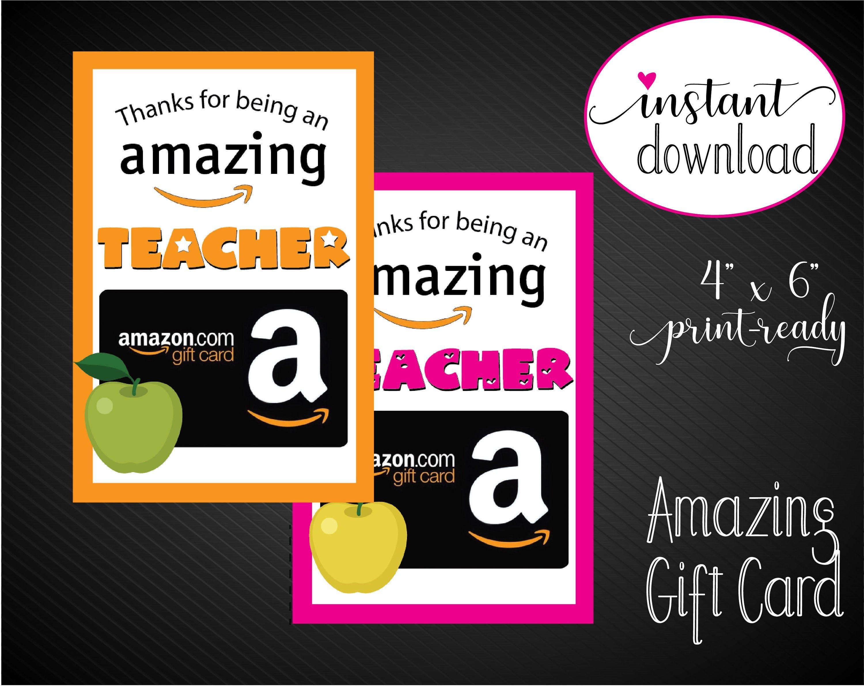 Amazon teacher appreciation gift card holder thank you