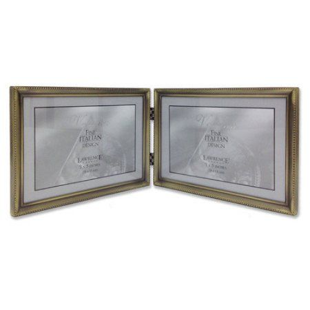 Antique Gold Bead 7x5 Hinged Double Picture Frame | Double picture ...