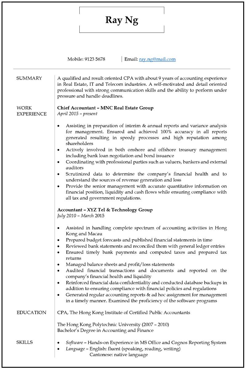 Resume Cv Sample For Accountant Jobsdb Hong Kong Easy Resume Buir Free R Professional Cv Format Professional Resume Format Professional Resume Examples
