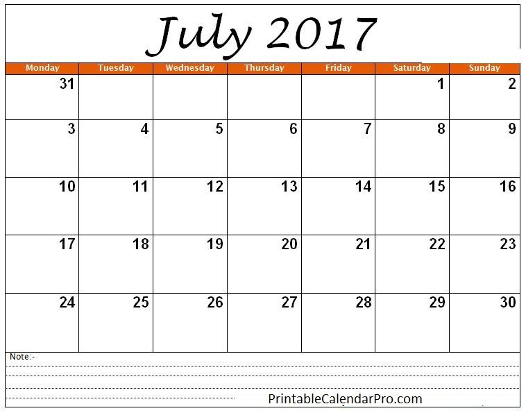 July 2017 Calendar with Holidays    socialebuzz july-2017 - blank calendar pdf