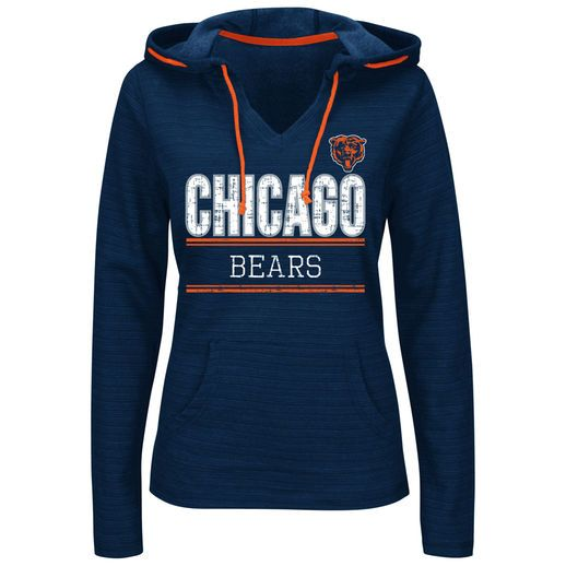 17fb7164 Majestic Chicago Bears Women's Navy Swift Play Pullover Hoodie ...