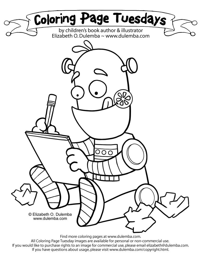 Coloring Page Tuesday Writing Robot Cute Coloring Pages