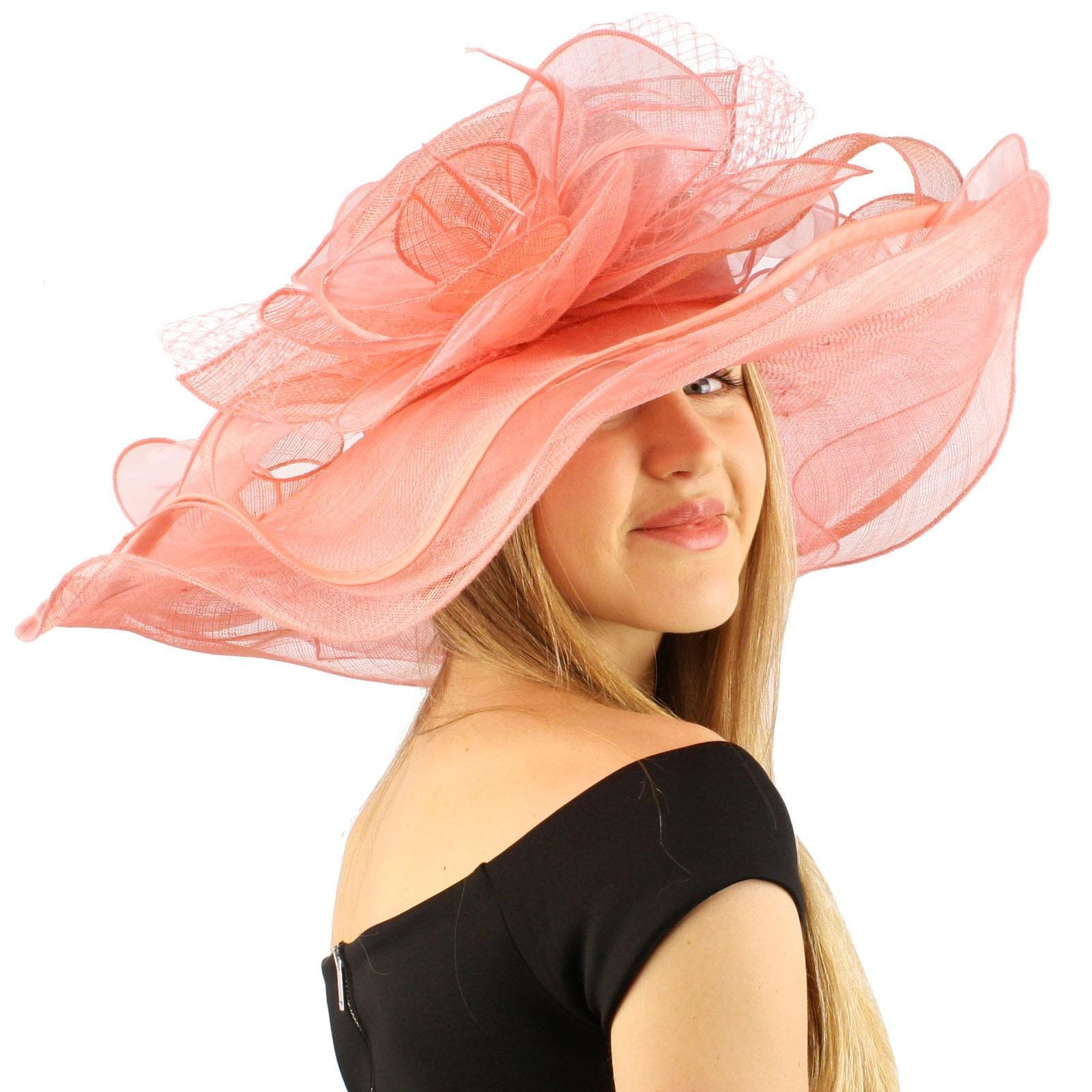 "Summer Kentucky Derby Wide 6""+ Brim Layers Floppy Feathers Net Floral Hat Pink"