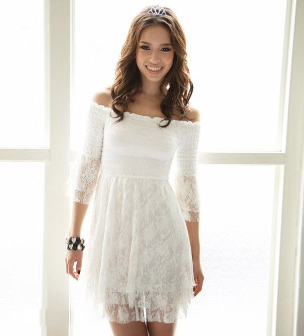 Off Shoulder Half Sleeve White Lace Dress | Sleeve, Do what and ...