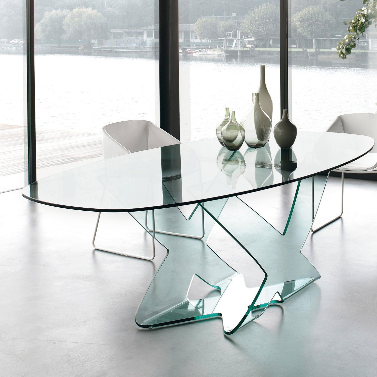 Ghost Oval Table In 2021 Glass Dining Table Glass Dining Table Set Oval Table Dining [ 1500 x 1500 Pixel ]