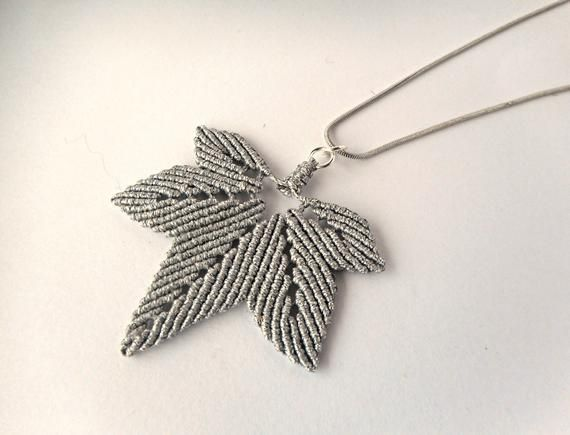 Photo of Silver leaf necklace, Macrame necklace, Silver necklace for women, Micro macrame…