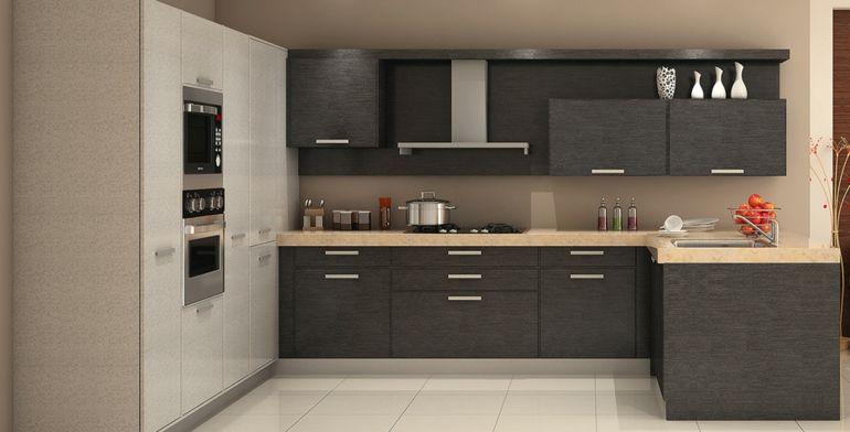 Muebles de madera laminada color gris arquitectura Muebles de cocina modulares baratos