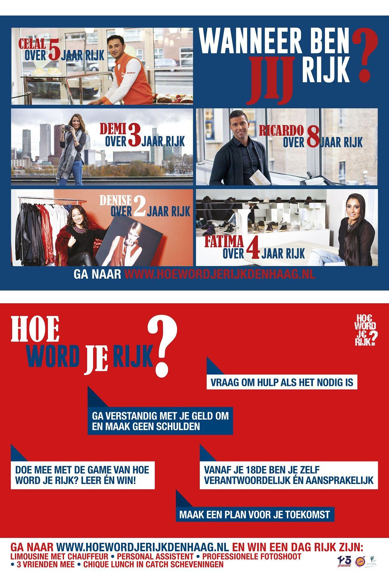 Flyer 'Hoe word je rijk? Den Haag', voorkant en achterkant * www.hoewordjerijkdenhaag.nl * by Alan Bredenhorst | 125Procent