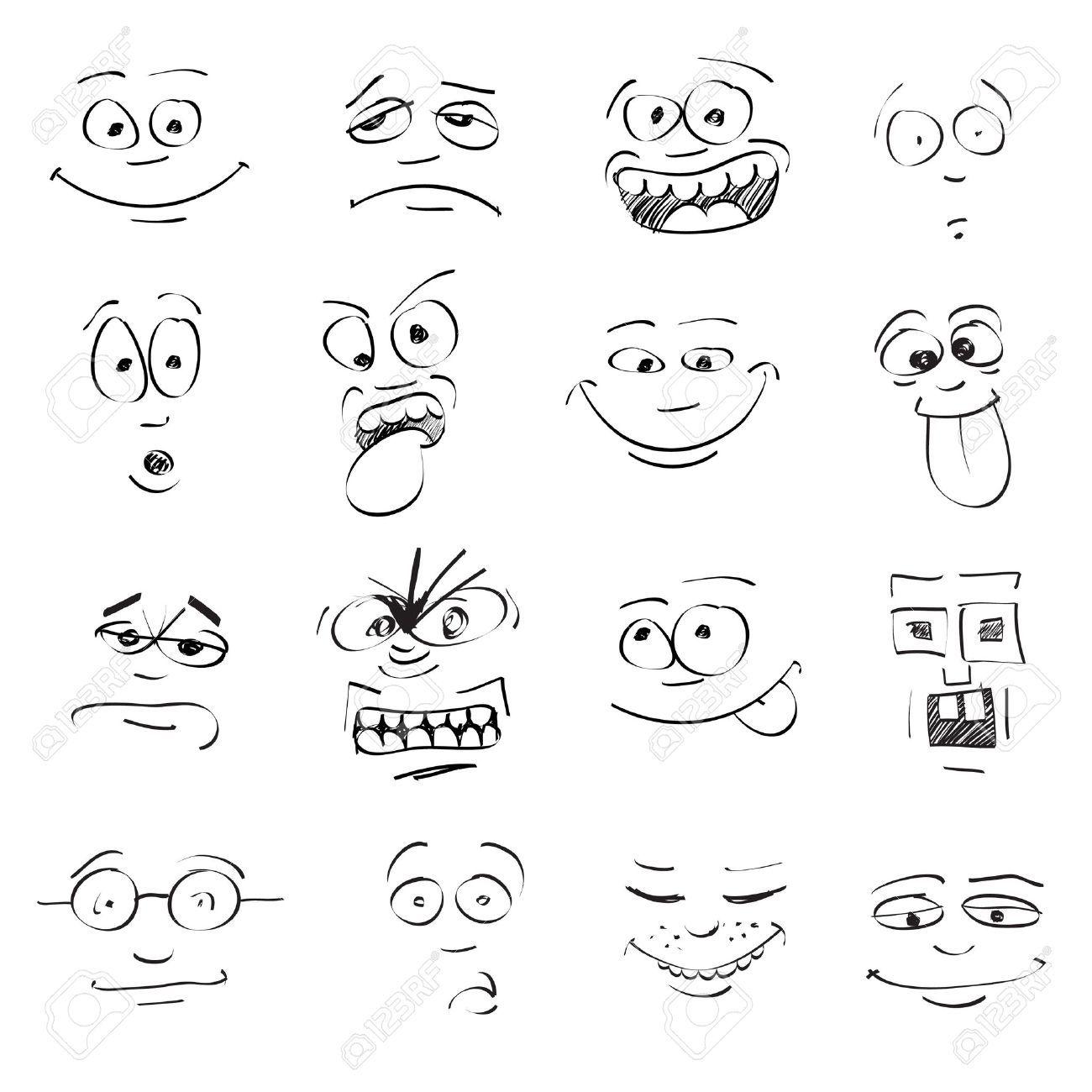Conjunto De La Emocion En Los Rostros De Dibujos Animados Cartoon Faces Cartoon Faces Expressions Drawings