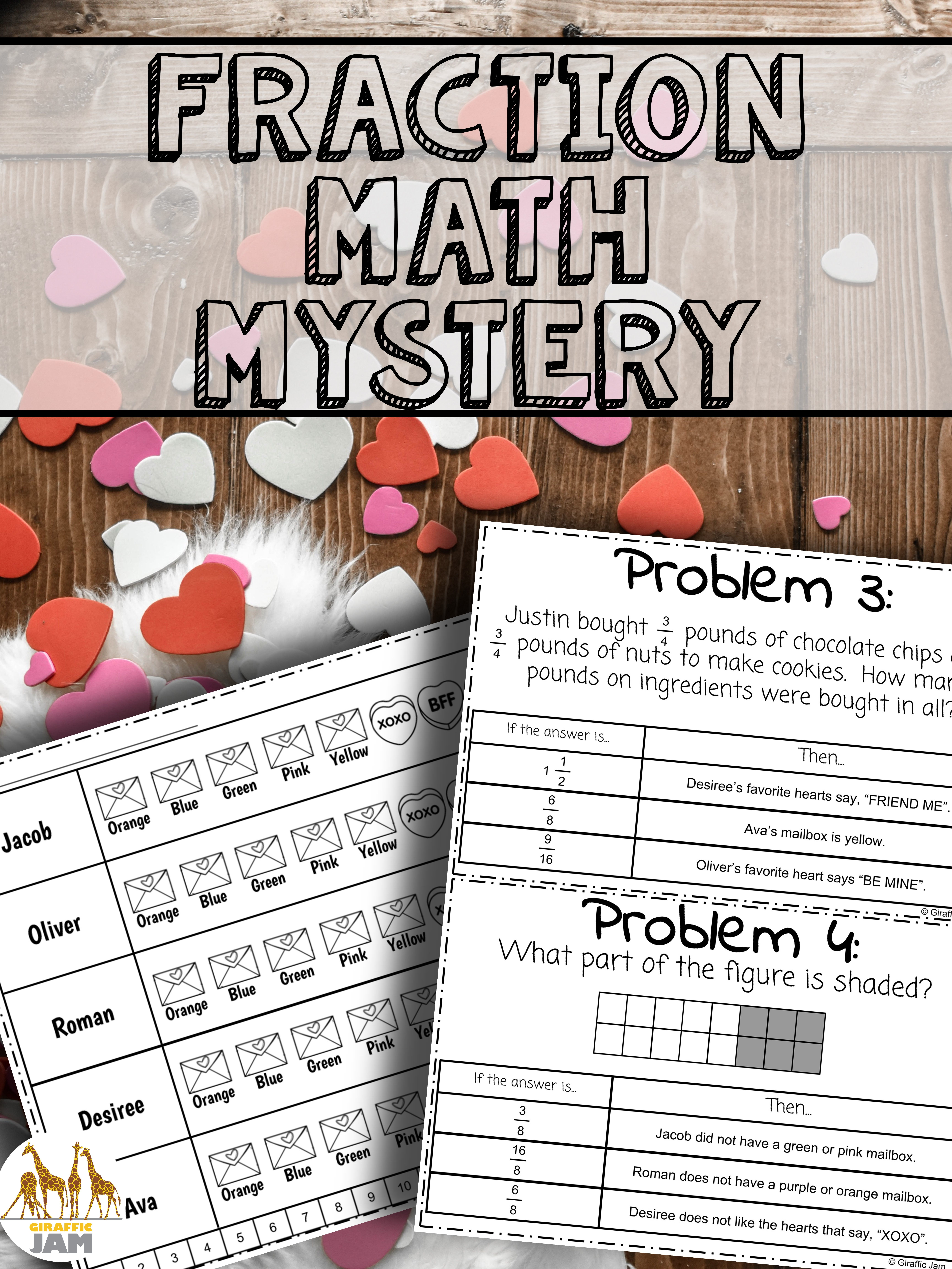 4th Grade Fractions Valentine S Day Activity With Answer