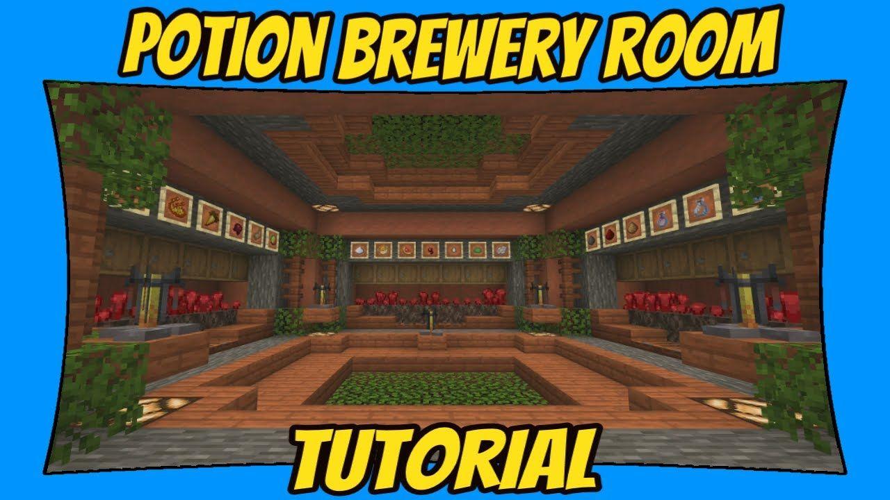 Potion Brewing Room Tutorial Minecraft Bedrock Edition Mcpe Minecraft Storage Room Minecraft Underground Minecraft Room