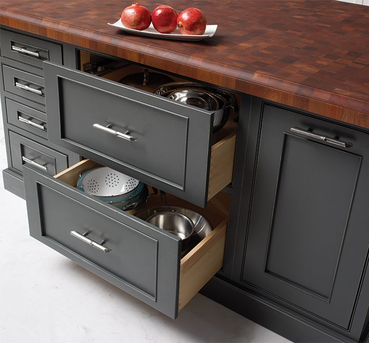Deep drawers in this kitchen island store