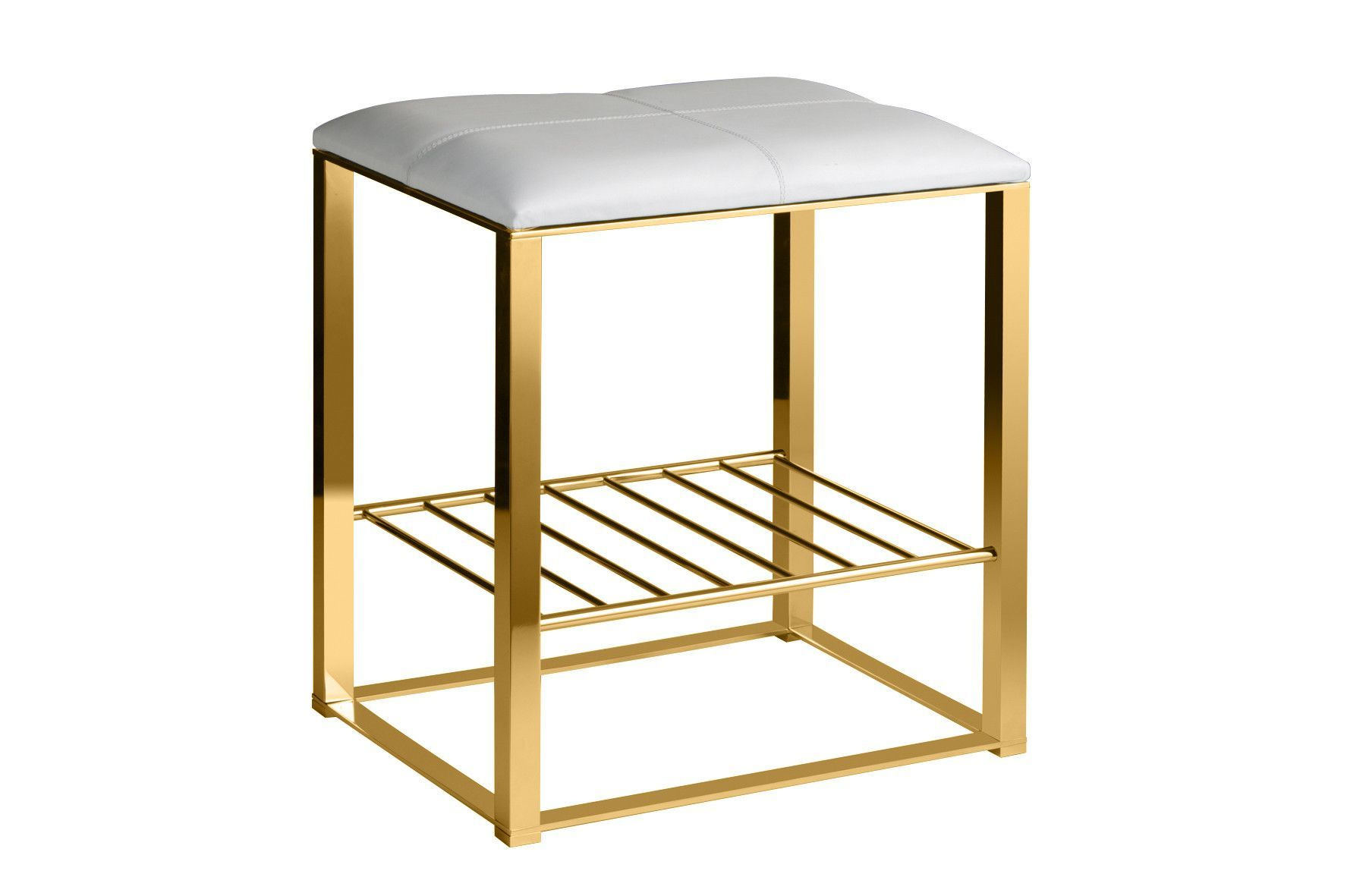 Backless Vanity Stool Bench, Brass Metal Legs, Leather Seat And Storage  Shelf