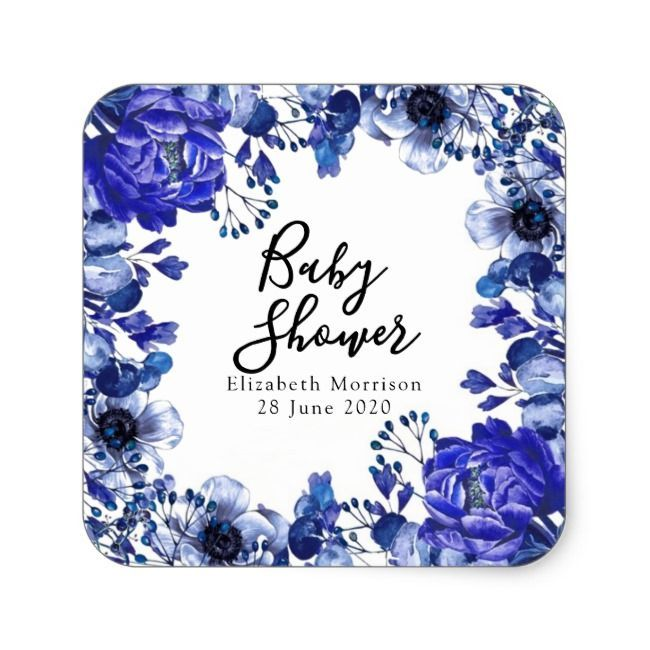 Rustic Cornflower Blue Peony Baby Shower Square Sticker  Rustic Cornflower Blue Peony Baby Shower Square Sticker