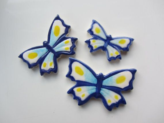 3 blue and yellow handmade and handpainted by RedShedCeramics, $6.50
