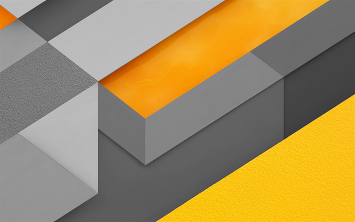 Download Wallpapers 4k Android Gray And Yellow Material Design Lollipop Geometric Shapes Creative Geometry Colorful Background Besthqwallpapers Com Abstract Wallpaper Bokeh Wallpaper Red And Black Wallpaper
