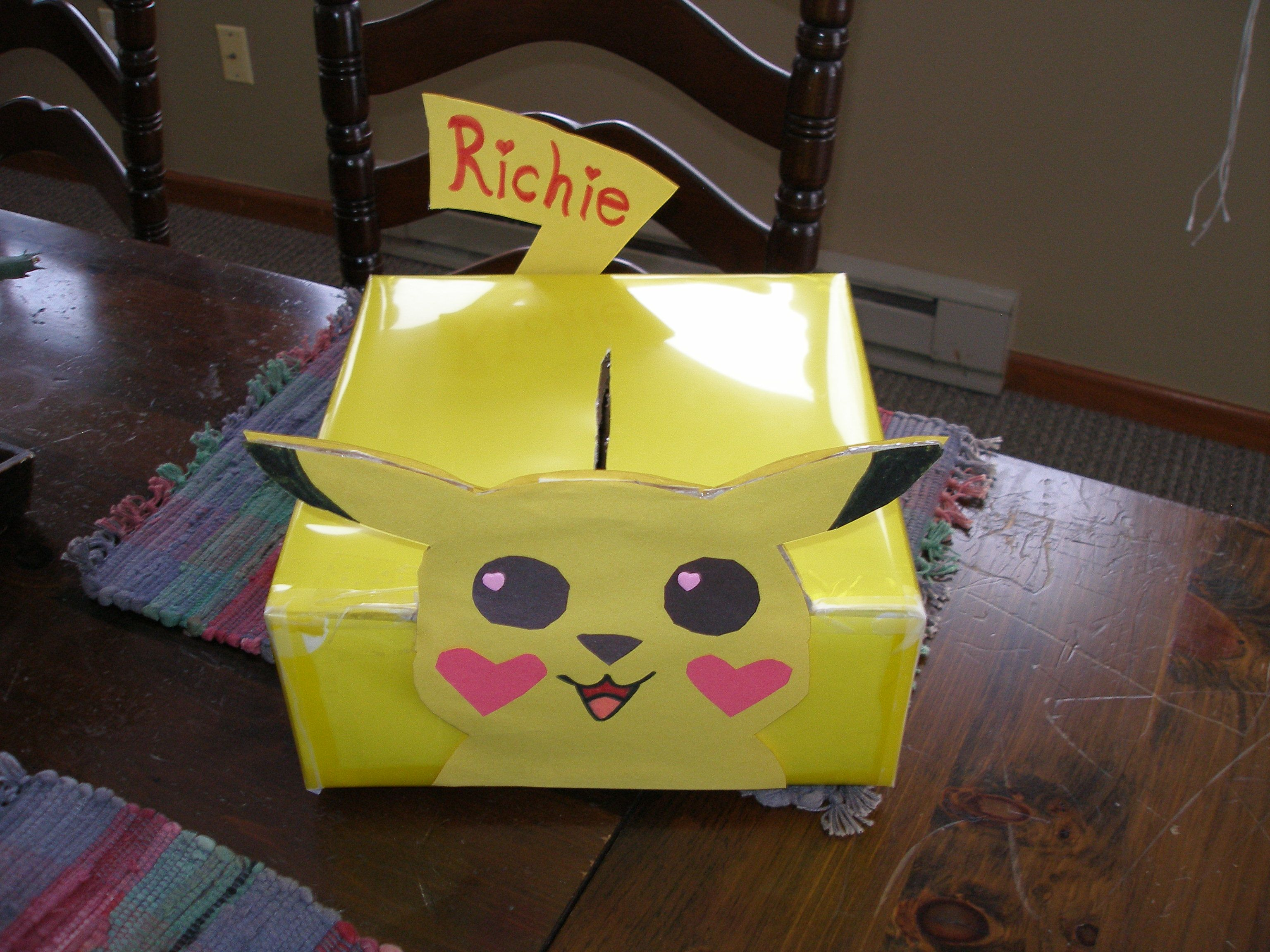 Pikachu Valentine Box Richie I made today – Valentine Card Boxes for School