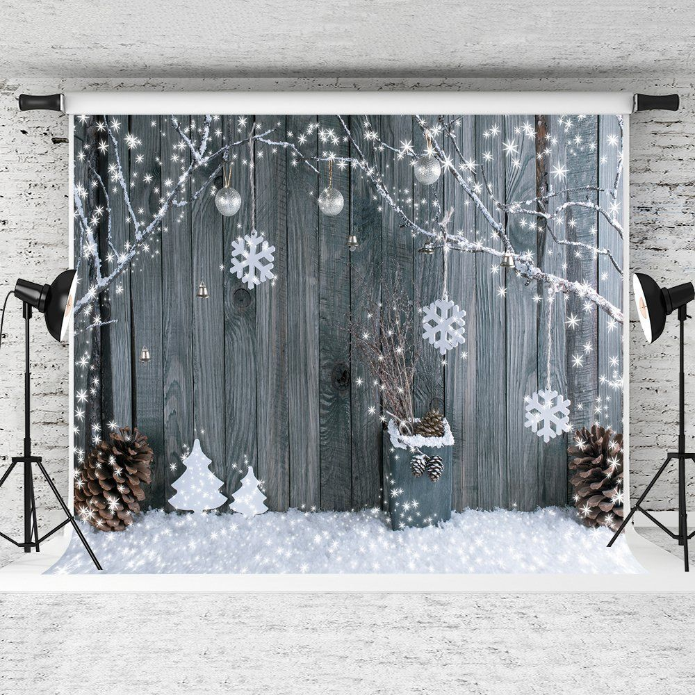 GreenDecor Polyster 7x5ft Christmas Background Snowflake Backdrops Christmas Wood Wall Backdrop Children Christmas Photography Props - Walmart.com #christmasbackgrounds