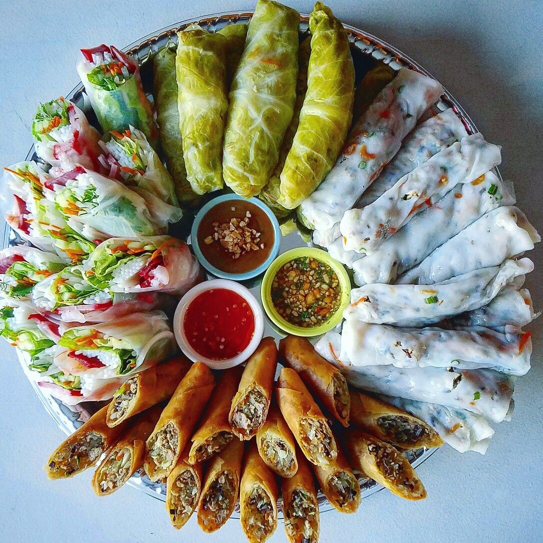 Hmong Wedding Food: The Ultimate Platter Of Rolls. There's Steamed Rolls