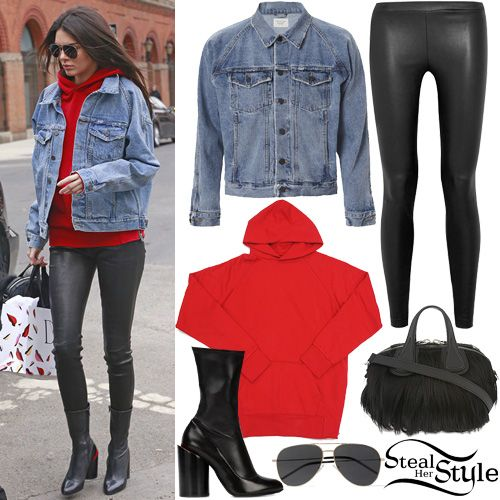 Kendall Jenner Red Hoodie Denim Jacket Steal Her Style Kendall Jenner Fab Clothing Kendall Jenner Outfits Sweaters And Jeans