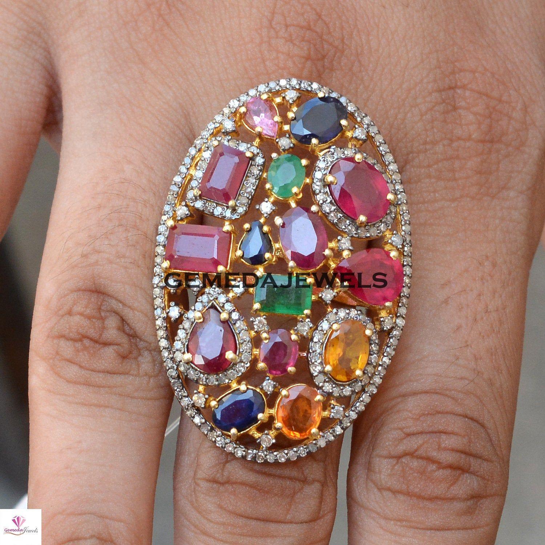 Diamond Ring Pave Ring 925 Sterling Silver Multi Tourmaline /& Diamond Pave FLOWER Flower Ring Pave Diamond Ring