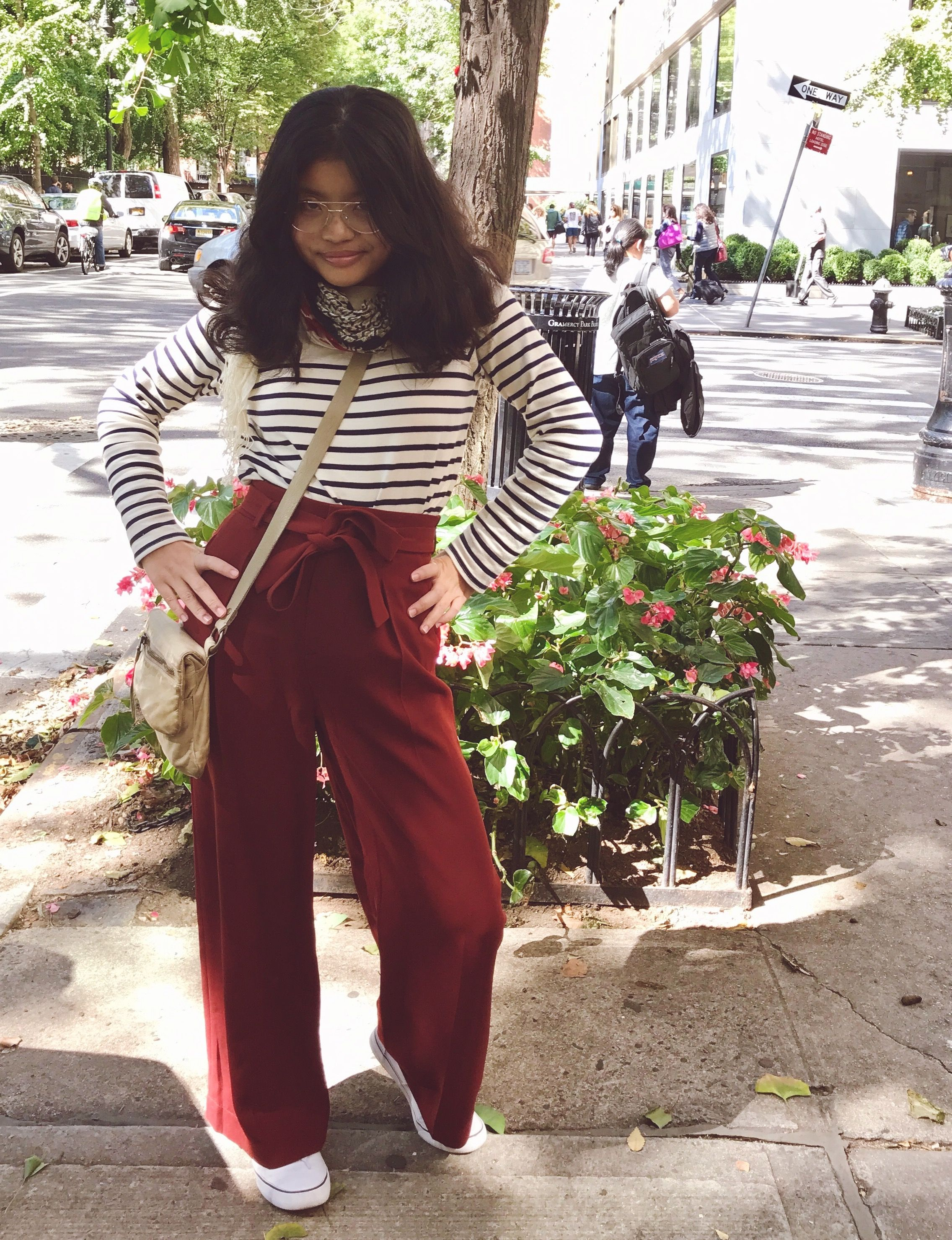 350cea8c35cd Teen daughter's favorite high-waisted trousers from Uniqlo. #fallfashion  #teenstyle #teenfashion