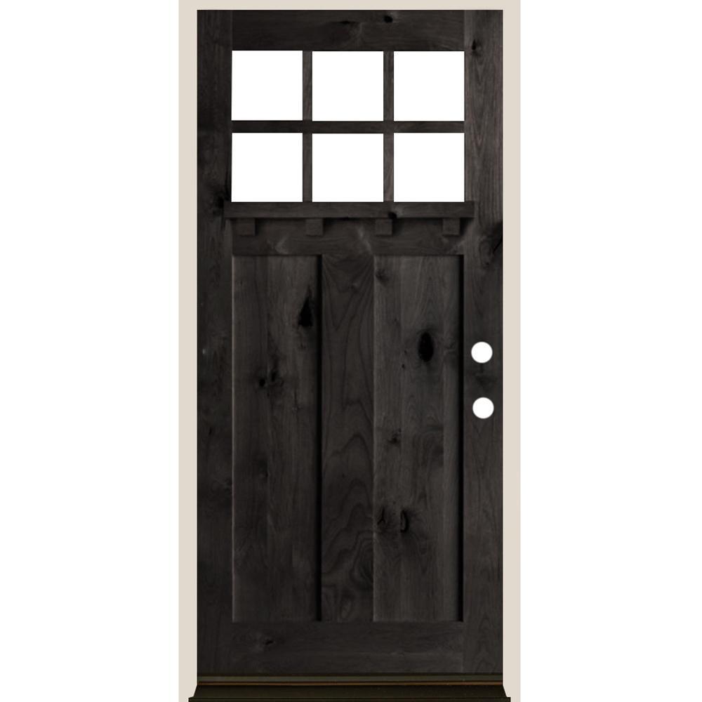 Krosswood Doors 36 In X 80 In 6 Lite Craftsman Black Stain Left Hand Douglas Fir Prehung Front Door Phed Df 550ds 30 68 134 Lh 512 Black In 2020 Craftsman Door Beveled Glass Douglas Fir