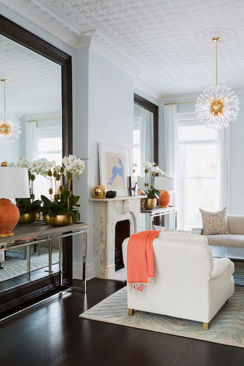 Decorating With Large Mirrors Living Room Black Curtains In Console Table Front Of Floor Mirror Transitional