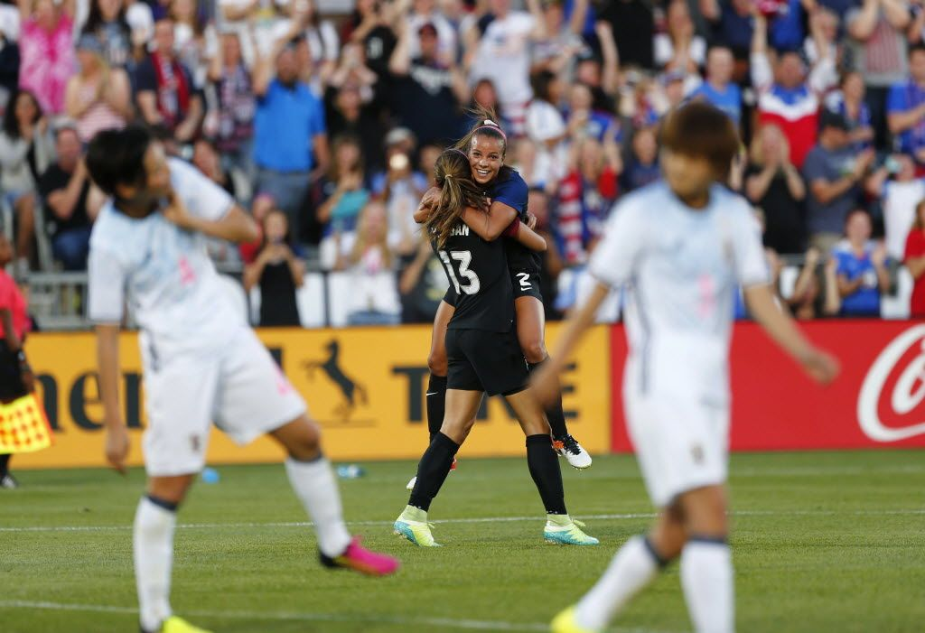 c8bf73c1aab Alex Morgan and Mallory Pugh celebrate Morgan's goal (and Pugh's assist) against  Japan on June 2, 2016, outside Denver. (Jack Dempsey/AP)