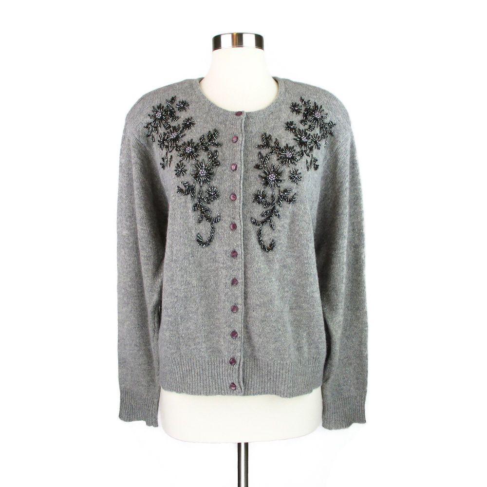 0bc2c9d8233 Vtg Womens 1X Beaded Cardigan Sweater Plus Size Lambswool Angora Embellished   TheAvenue  Cardigan