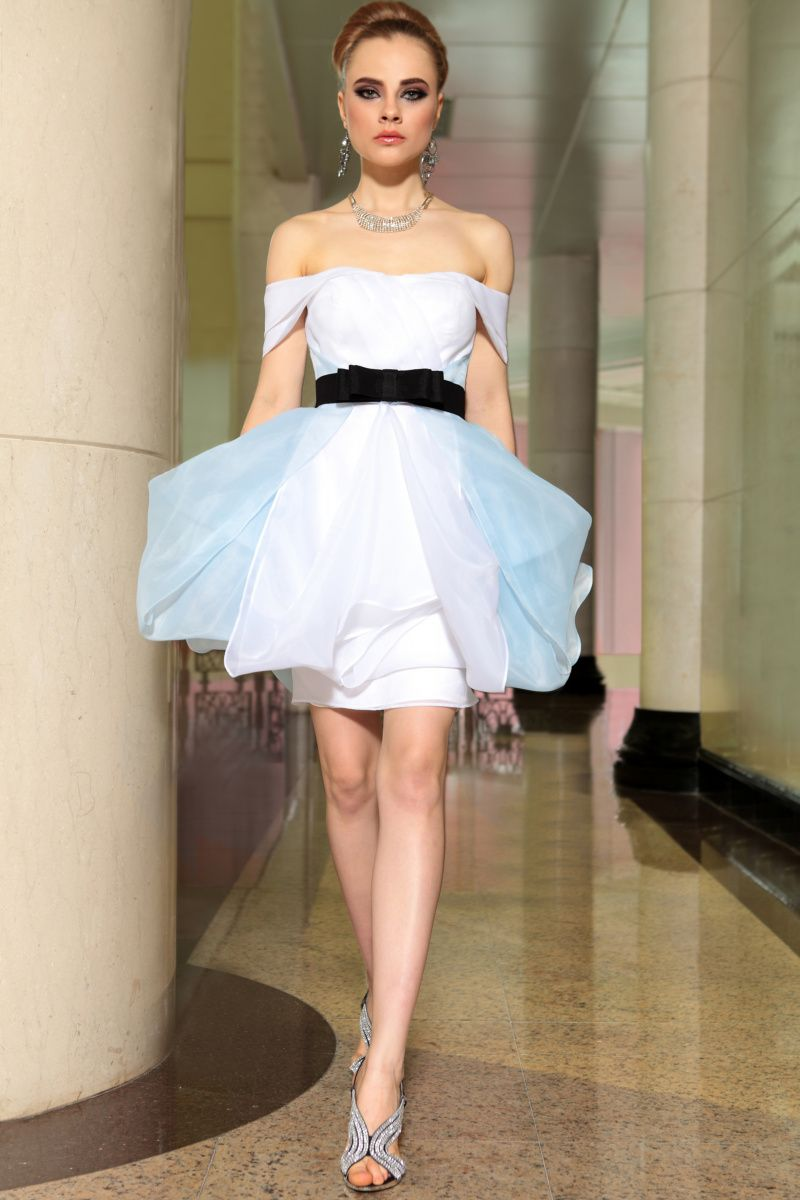 Fashion beautiful organza colour matching bow aline promevening