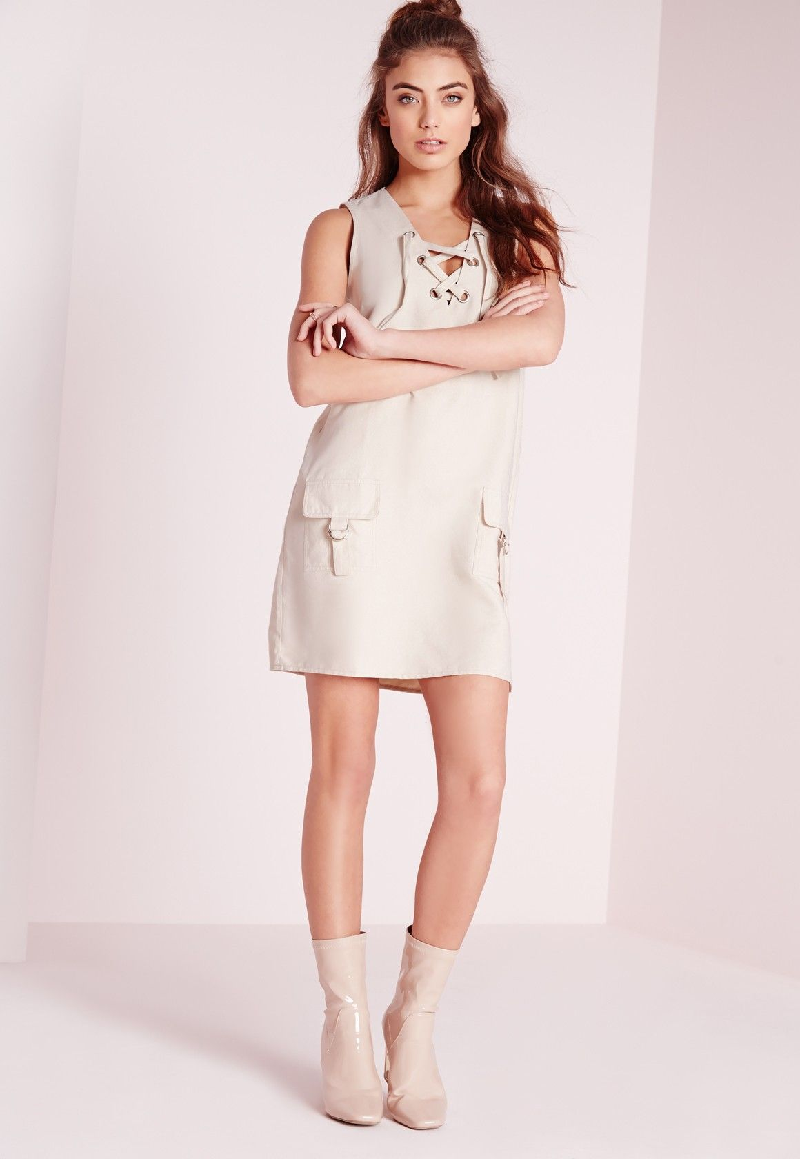 california-diamond:  Faux Suede Lace Up Shift Dress Ivory @missguided