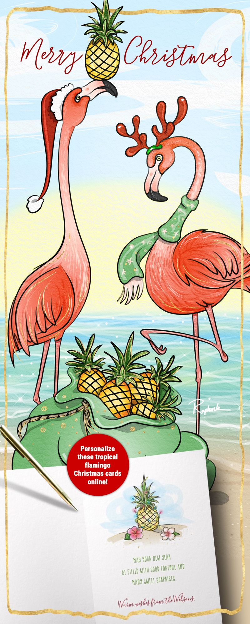 Unique Artistic Pink Flamingo Christmas Cards That You Can Personalize Send Friends
