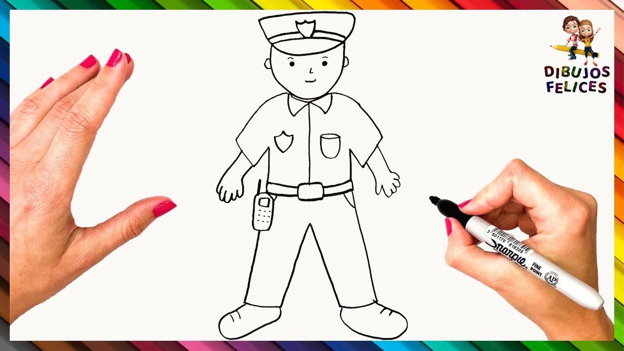 Como Dibujar Un Policia Paso A Paso Dibujo De Policia Dibujos De Policias Policia Dibujo Dibujos De Profesiones