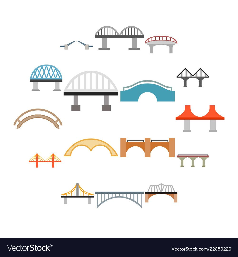 Bridge Icons Set In Flat Style Isolated On White Background Download A Free Preview Or High Quality Adobe Illustrator Ai Eps Bridge Icon Icon Set Wings Icon