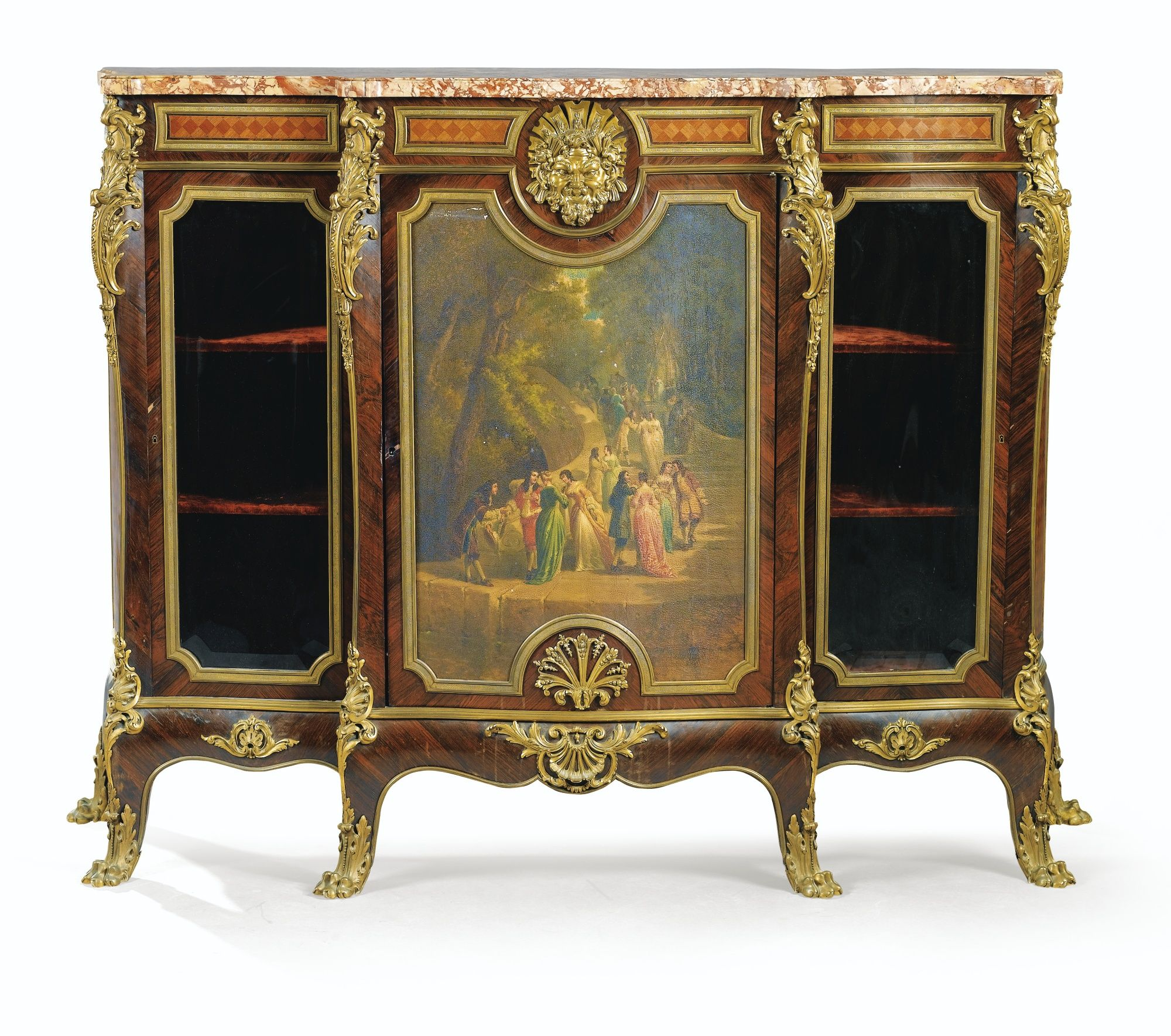 A gilt bronze mounted parquetry and painted pannel - Muebles antiguos franceses ...