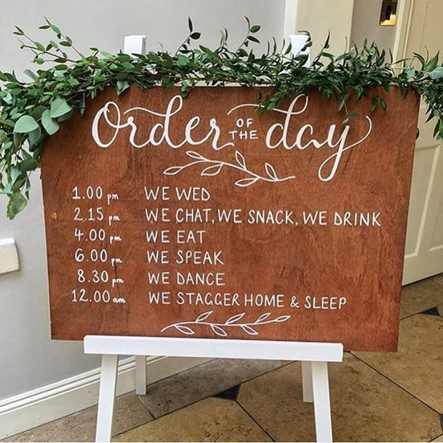 Wedding Ceremony Order Sign Wooden Rustic Of The Day