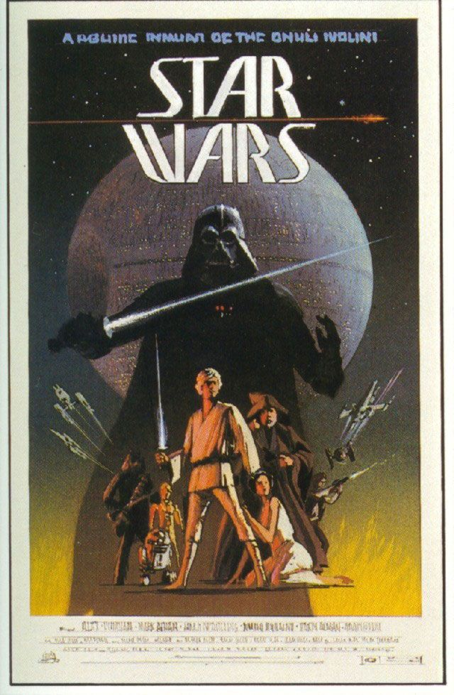 """ANH: Ralph McQuarrie concept poster for Star Wars.  McQuarrie states, """"Most of the initial posters fell into this formula --- with Darth Vader lurking in the background.""""  Looking closely at the poster, you can see Luke's familiar costume, Han's vest, and the droids look pretty much like they did in the film.  But notice that the planet-destroying laser array on the Death Star sits on the equator (rather than on the upper hemisphere as seen in the movie)."""