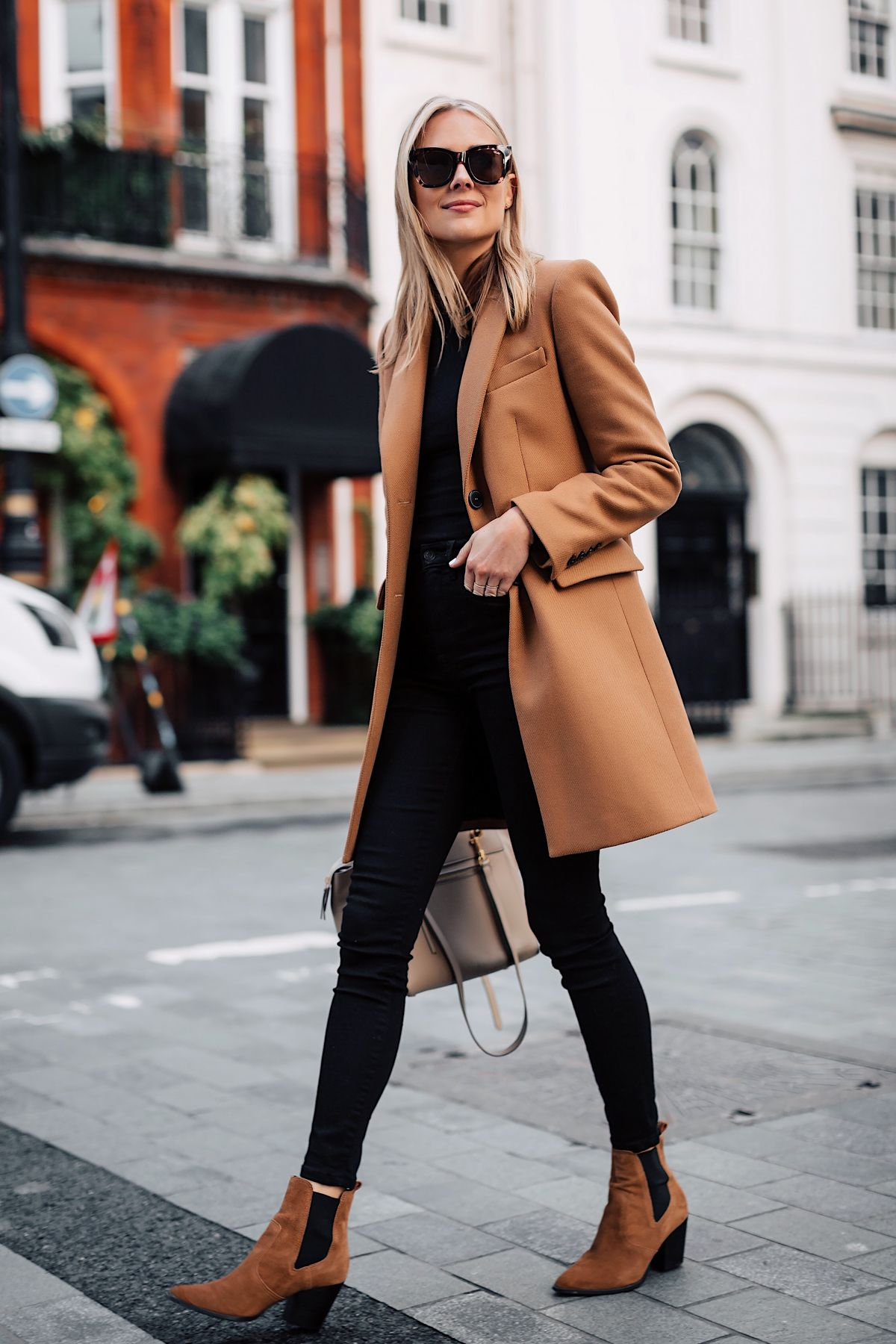 cdf80416c21f Fashion Jackson Zara Camel Coat Black Sweater Black Skinny Jeans Tan  Booties Outfit 1