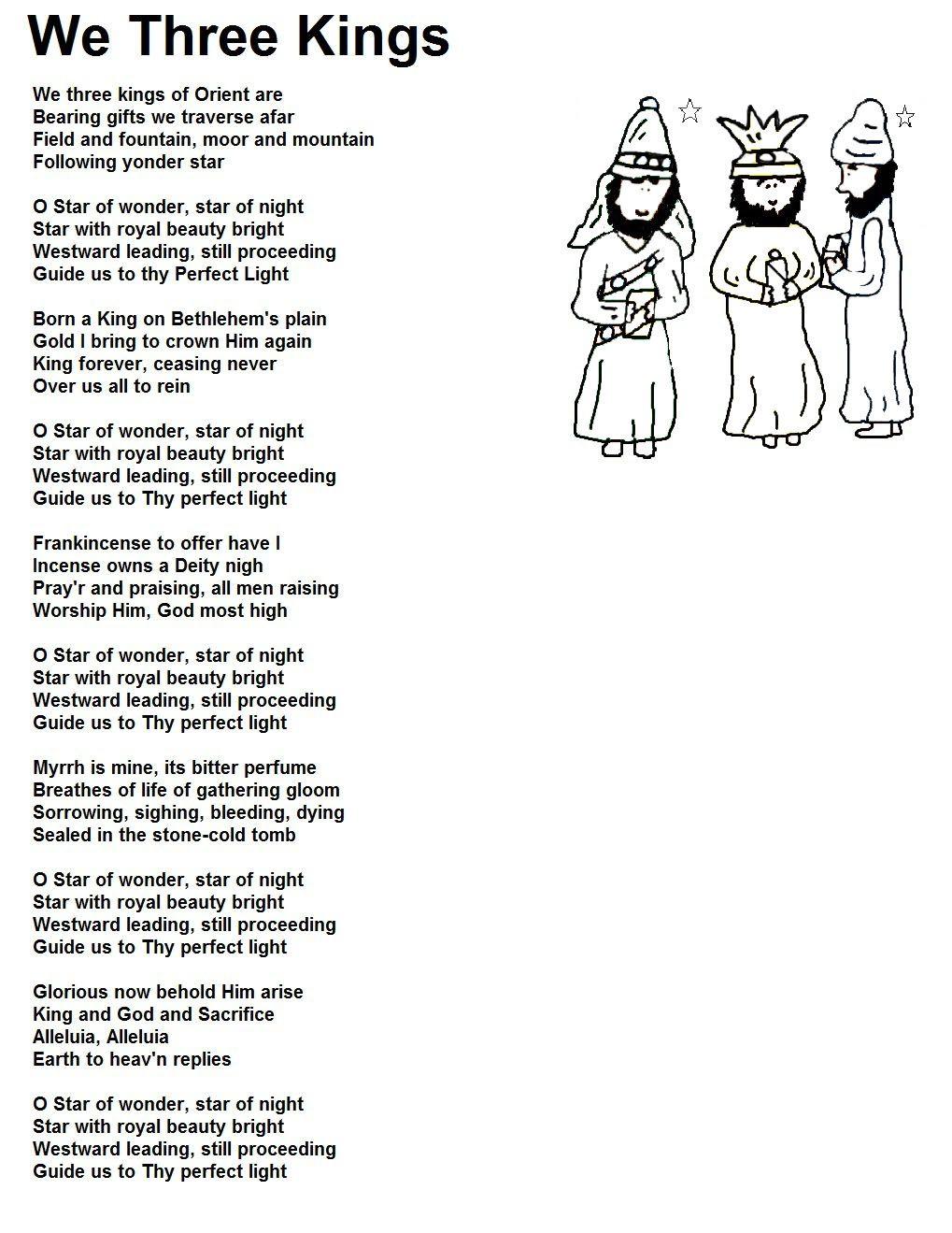 We three kings We three kings, Christmas songs lyrics