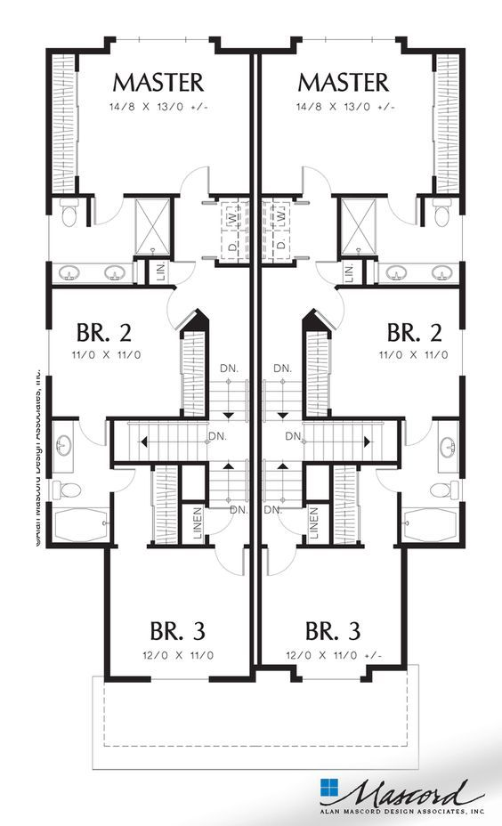 Upper Floor Plan Of Mascord Plan 4013 The Abbotsville T Shaped Staircase In Cottage Duplex Duplex Plans House Plans Duplex Floor Plans