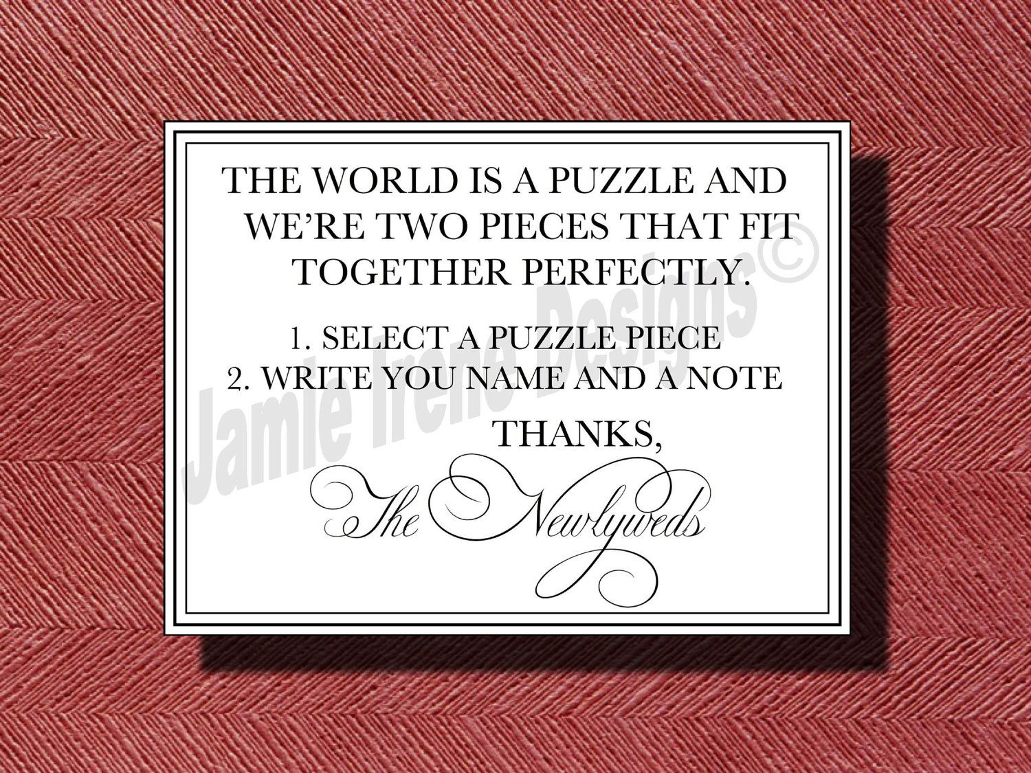 Custom Designed Wedding Puzzle Piece Guest Book Instructional Sign ...